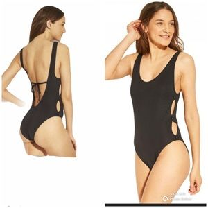 NWT Black Ribbed Button Side Swim Suit
